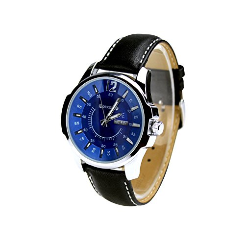 City ORKINA Silber Farbe Fall Datum Display Blau Zifferblatt Leaher Gurt Herren Fashion Armbanduhr