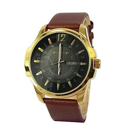 ORKINA Gold Farbe Fall Datum Display braun Zifferblatt Leaher Gurt Herren Fashion Armbanduhr