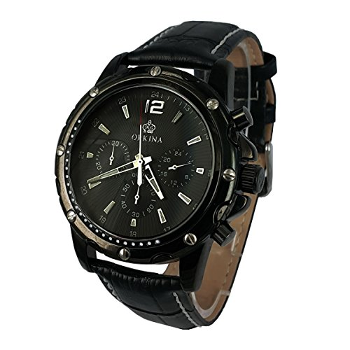 City schwarz Chronograph Zifferblatt Japan Quarz Lederband