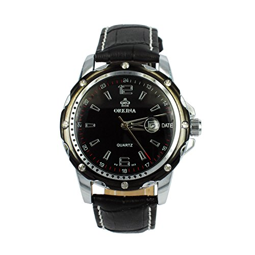 City schwarz Zifferblatt Datum Display Herren Business Fashion Lederband armbanduhr