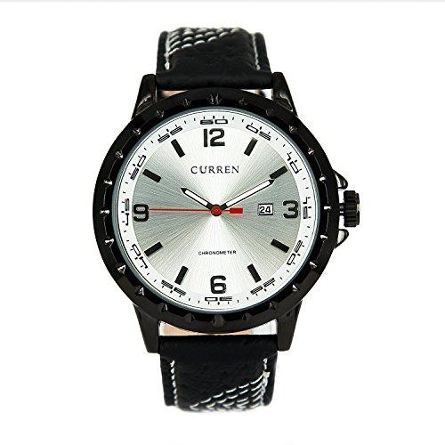 City schwarz Fall Silber Zifferblatt Datum Display Quarz Lederband Businss Armbanduhr