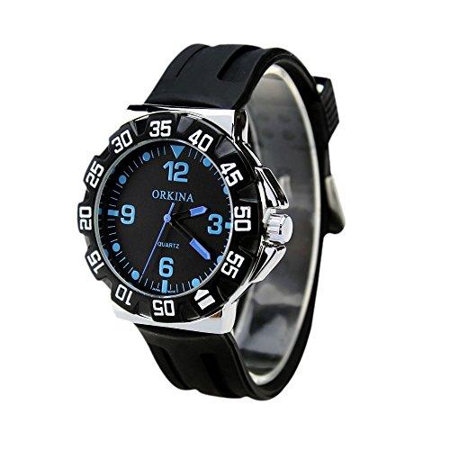 City schwarz Ziffernblatt blau Buchstaben Quarz Silikon Armband Herren Sport Armbanduhr