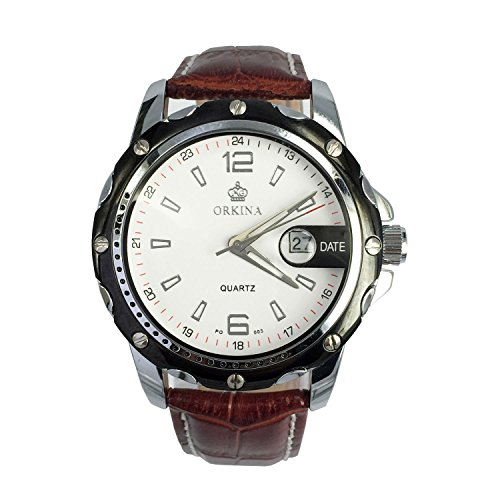 City silber Fall Datum Display Herren Business Casual Braun Lederband Armbanduhr