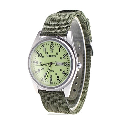 City Matt Silber Fall Quarz Datum Display Gruen Nylon Stoff Gurt Casual Fashion Armbanduhr