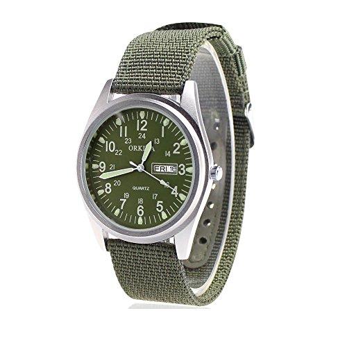 City Matt Silber Fall Quarz Datum Display Military Gruen Nylon Stoff Gurt Outdoor Armbanduhr