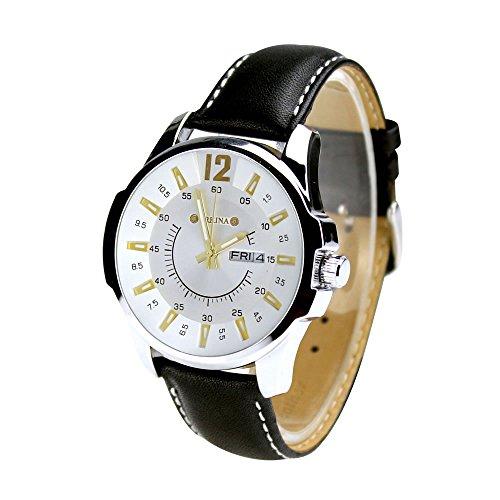 City silber Farbe Fall Datum Display Leaher Gurt schwarz Herren Fashion Armbanduhr