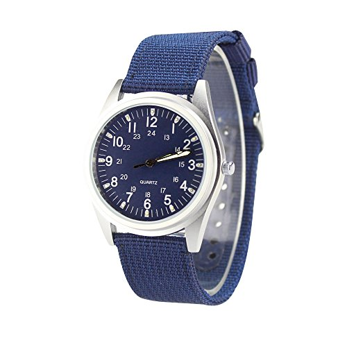 City Matt Silber Fall Ocean Blau Zifferblatt Quarz Nylon Stoff Band Armee inspiriert Armbanduhr