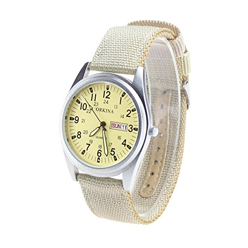 City Matt Silber Fall Quarz Datum Display Beige Farbe Nylon Stoff Gurt Outdoor Sport Armbanduhr