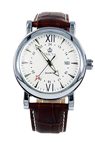 City silber Fall Weiss Zifferblatt Datum Display braun Leder Band Fashion Armbanduhr