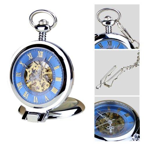 ORKINA Retro Taschenuhr W117 BR Mechanische Blau Hohl Zifferblatt Roemisches Stil Taschenuhr