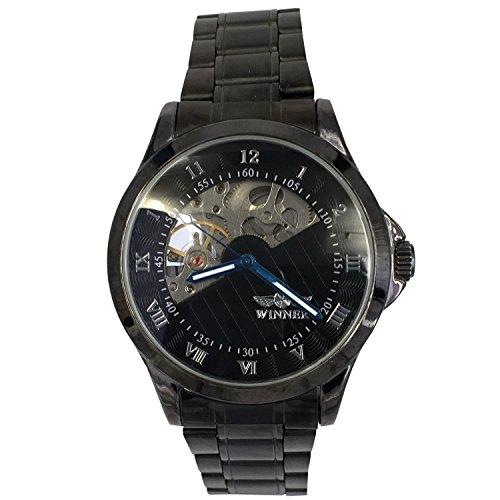 City Herren Verschieden schwarz Semi Skelett Zifferblatt automatische mechanische Bewegung Edelstahl Armbanduhr
