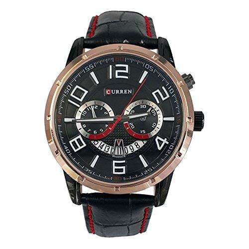 Wasserdicht Herren Fashion Dekorative Chronograph Schwarz Lederband Armbanduhr