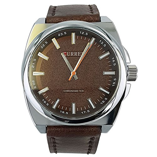 City Wasserdicht Herren s New Fashion Braun Leder Armbanduhr