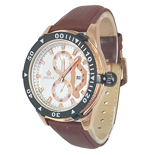City Rose Gold Fall 6 Zeiger Chronograph Zifferblatt braun Leder Band Armbanduhr