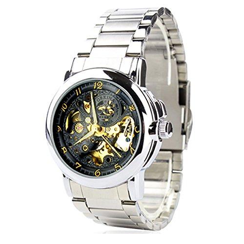 City Herren Schwarz Skelett Zifferblatt automatische mechanische Bewegung Stahl Armband Armbanduhr