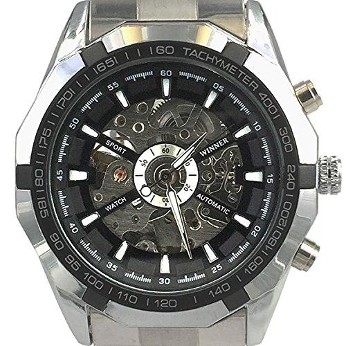 City gross silber Fall Skelett Zifferblatt automatische mechanische Bewegung Edelstahl Armband Armbanduhr