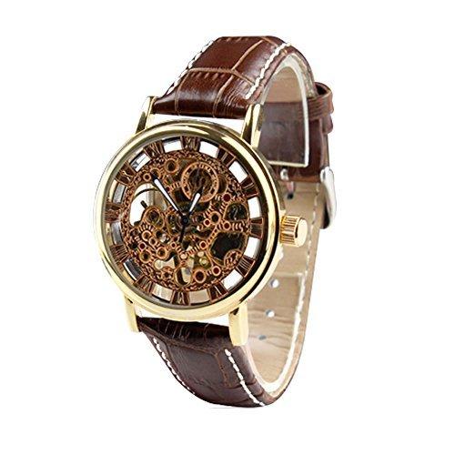 City Herren Kupfer Farbe Fall Skelett Zifferblatt mechanisch aufziehbar Lederband Armbanduhr