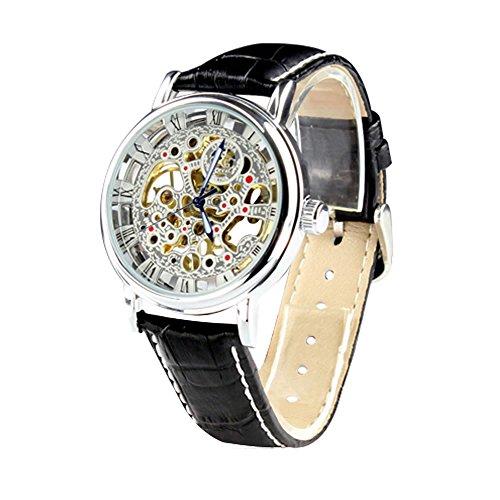City Herren Silber Fall Skelett Zifferblatt mechanisch aufziehbar Lederband Armbanduhr