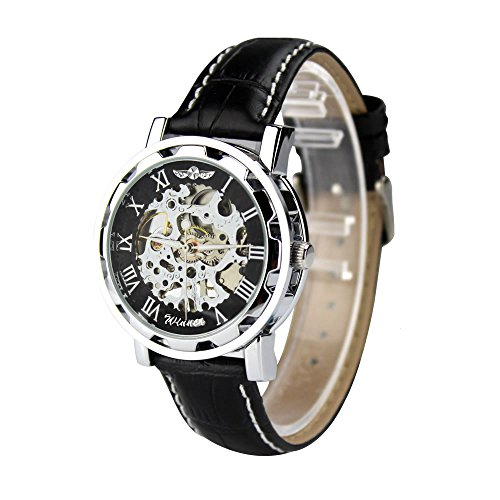 City silber Fall Schwarz Skelett Zifferblatt mechanisch aufziehbar Zifferblatt Lederband Armbanduhr