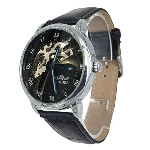 City Farbe Semi Skelett Zifferblatt mechanisch aufziehbar Bewegung Lederband Armbanduhr
