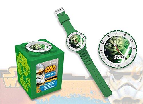 Kids Euroswan Star Wars SW14044 Yoda Analog Clock 4 in 1 Farbe gruen