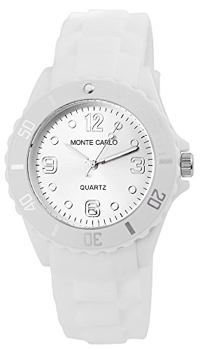 Unisex mit Quarzwerk RP2200000008 Kunststoffgehaeuse mit Silikon Armband in Weiss und Dornschliesse Ziffernblattfarbe Silber Bandgesamtlaenge 24 cm Armbandbreite 22 mm