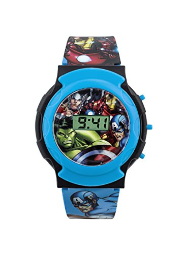 AVG3581 Avengers Kinder Digitaluhr mehrfarbiges Display blaues Kunststoffarmband