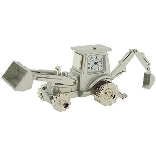 Uhrenminiatur Silberfarbener Metallbagger Novelty Sammleruhr 9973