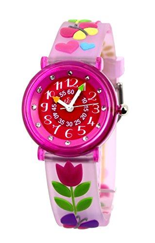 Baby Watch 606047 Tulpe Maedchen Armbanduhr Paedagogische Zifferblatt Rosa Armband Kunststoff rosa