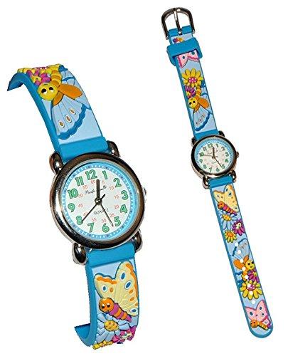 3 D Kinderuhr Schmetterlinge Uhr fuer Silikon Analog Maedchen Blumen Blueten blau pink