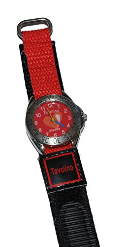 Kinderuhr Herzen mit Klettband Stoff Armband rot schwarz Uhr Maedchen Analog