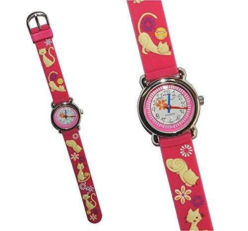 3 D Kinderuhr Katzen rosa Uhr Silikon Tiere Katze Tier Jungen Maedchen pink Analog