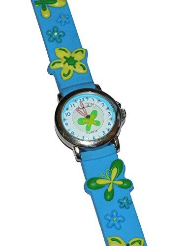 Kinderuhr Schmetterling gruen blau Uhr fuer Analog fuer Maedchen und Jungen Tiere Schmetterlinge