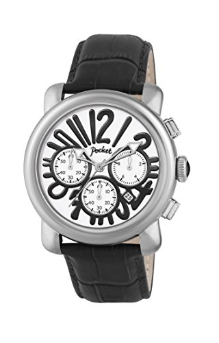 Pocket Rond Grande Herren Armbanduhr Analog Quarz Leder PK3026