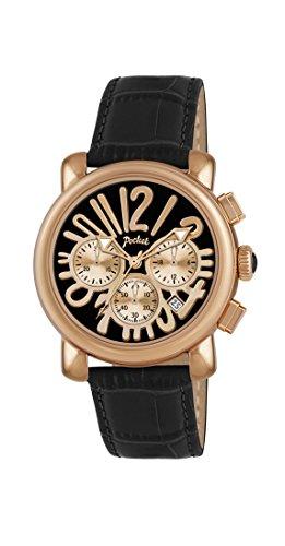 Pocket Rond Medio Damen Armbanduhr Chronograph Quarz Leder PK2052