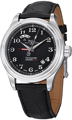 Ball Trainmaster Cleveland Express Dual Time Uhr Schwarz Crocodileband COSC