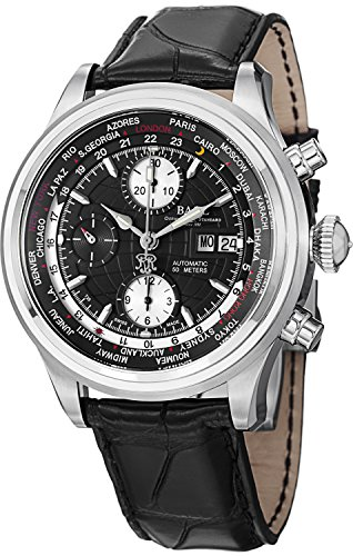 Ball Trainmaster Worldtime Chronograph Uhr Ball RR1502 Schwarz Crocodileband