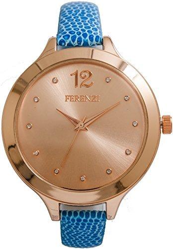 ferenzi Armband Blau und Gehaeuse Rosa Gold fz14202