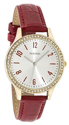 ferenzi Armband rot und Gehaeuse Gold mit Kristall fz17602
