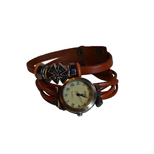 Armbanduhr Leder mit Aplikationen Lederband Uhr Schmuckuhr hellbraun