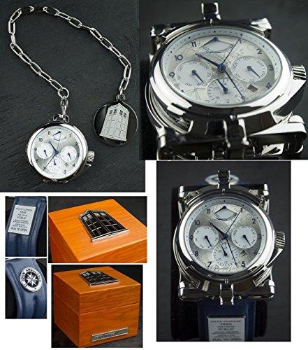 Doctor Who Herren Mechanische Uhr mit Silber Zifferblatt Chronograph Anzeige und blauem Lederband DR304