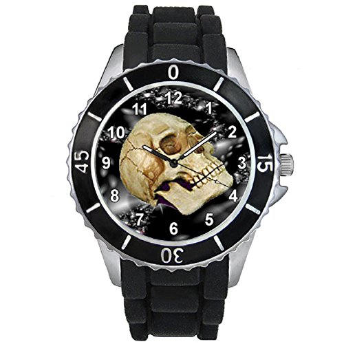 Timest Skull Totenkopf Unisex mit Silikonarmband in schwarz Rund Analog Quarz SE1238