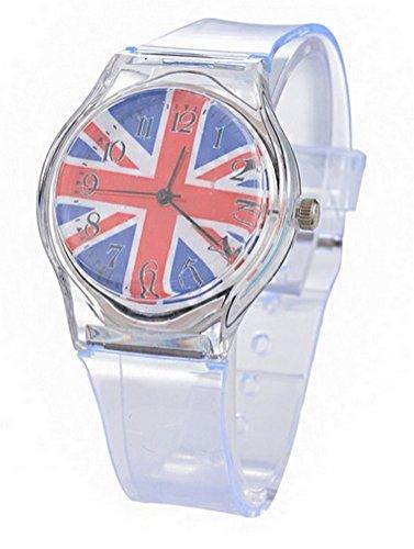 Armbanduhr transparent bedruckt Flagge UK Grossbritannien England Quartz