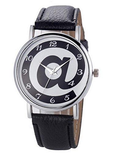 Zeigt Damen Quarz Motiv at Zeichen verstellbar Armband Schwarz