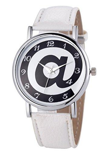 Zeigt Damen Quarz Motiv at Zeichen verstellbar Armband Weiss