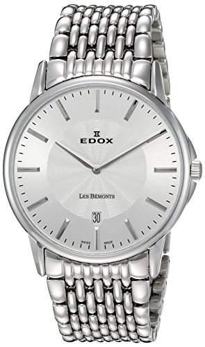 EDOX Herren-Armbanduhr LES BEMONTS -ULTRA SLIMM SWISS MOVEMENT Analog Quarz Edelstahl 56001 3M AIM