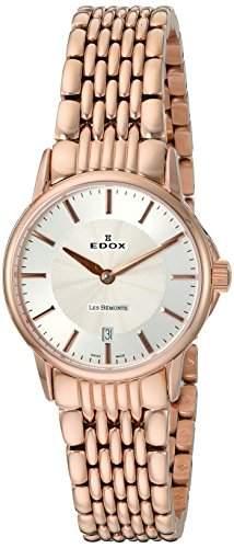 EDOX Damen-Armbanduhr LES BEMONTS -ULTRA SLIMM SWISS MOVEMENT Analog Quarz Edelstahl 57001 37RM AIR