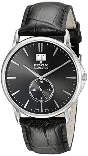 EDOX Unisex-Armbanduhr EDOX LES BÈMONTS BIG DATE Analog Quarz Leder 64012 3 NIN
