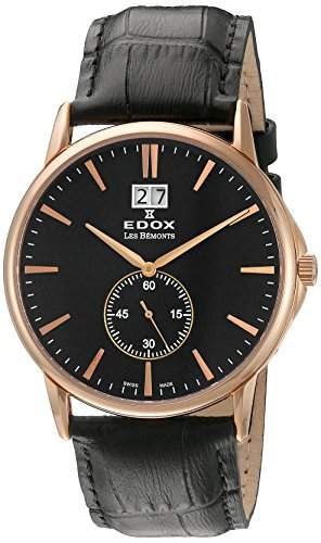 EDOX Unisex-Armbanduhr EDOX LES BÈMONTS BIG DATE Analog Quarz Leder 64012 37R NIR