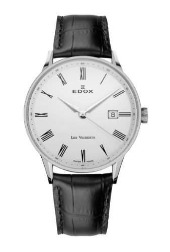 Edox Les Vauberts Date elegante Herrenuhr 8mm flach 70172 3A AR